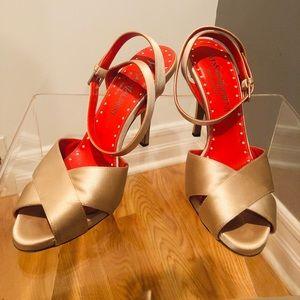 "Champagne satin YSL ankle strap sandal 4.5"" 38.5"